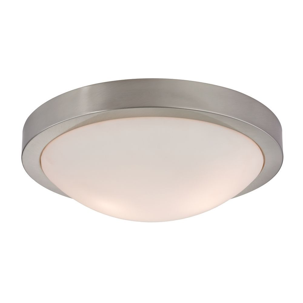 Modern flush ceiling light satin nickel 13 inch wide aloadofball Image collections