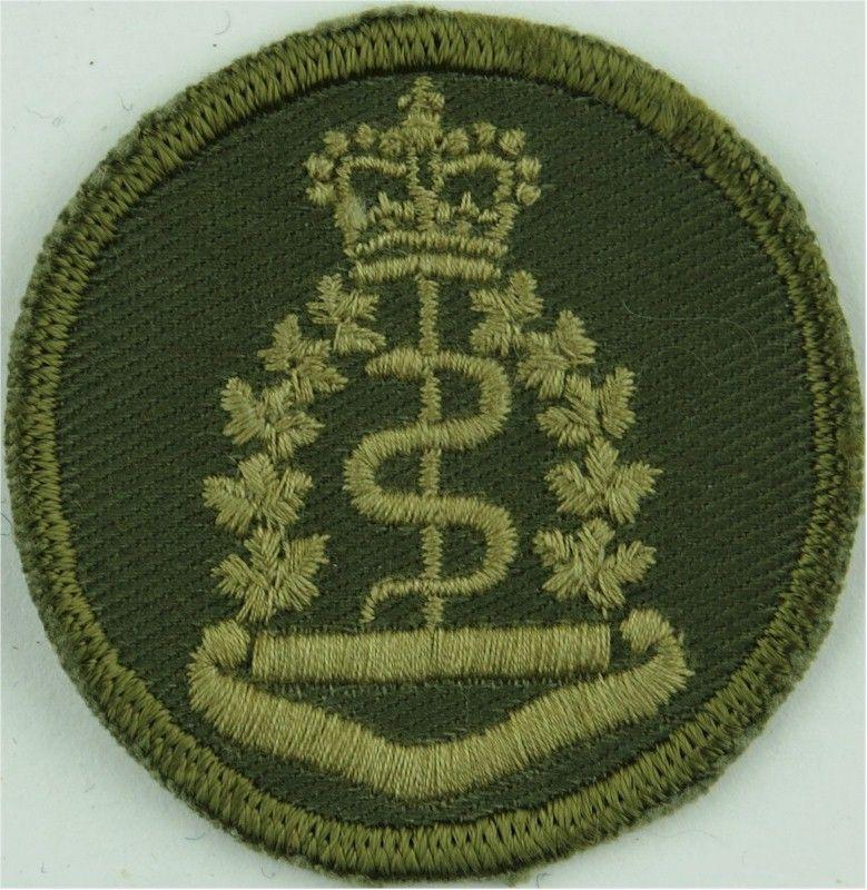 Royal canadian army medical corps green bush hat badge