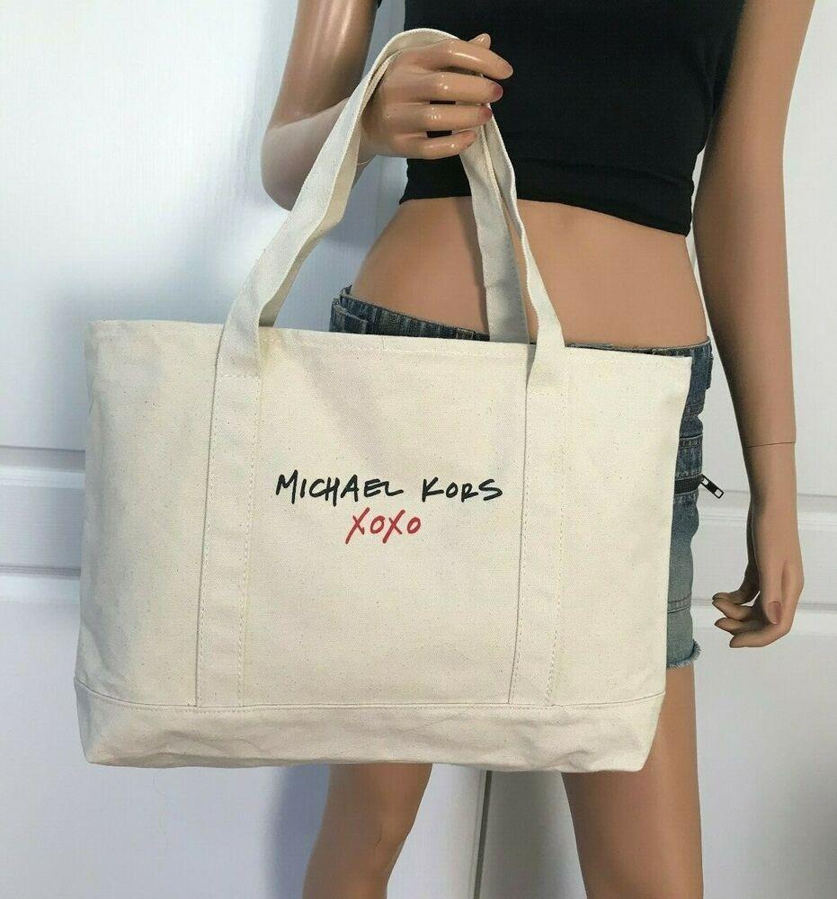 6f0348d8c2c0 Michael Kors XOXO Large Cream Canvas Shopping Beach Travel Tote Bag Purse   MichaelKors  Tote