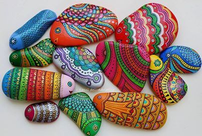 beautiful, colorful painted rocks