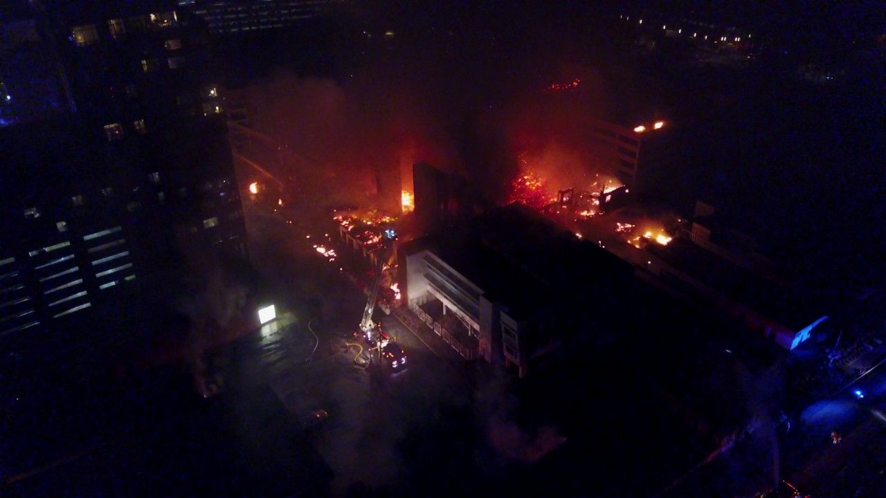 Drone Footage Of Large 4 Alarm Fire In Downtown Raleigh Last Night