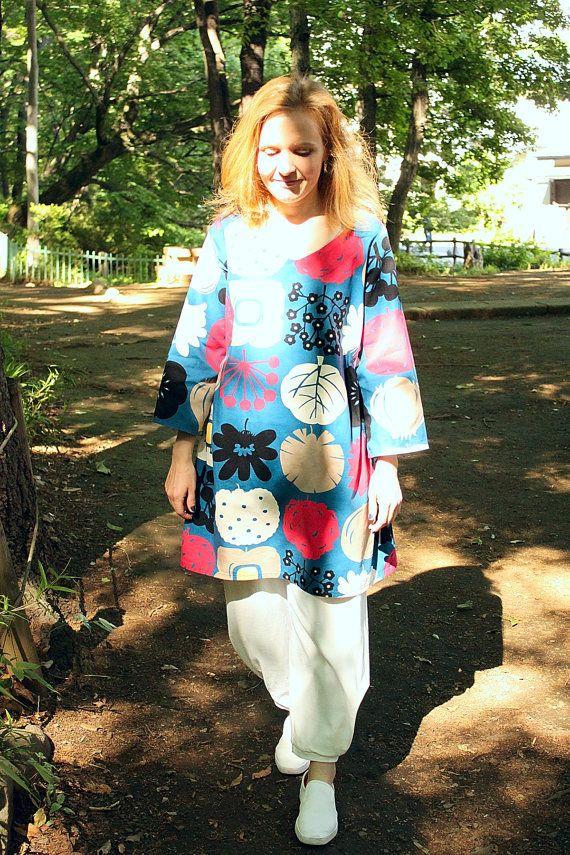 Japanese tunic dress, silkscreen-printed cotton, tunic dress, hand sewing, made to order