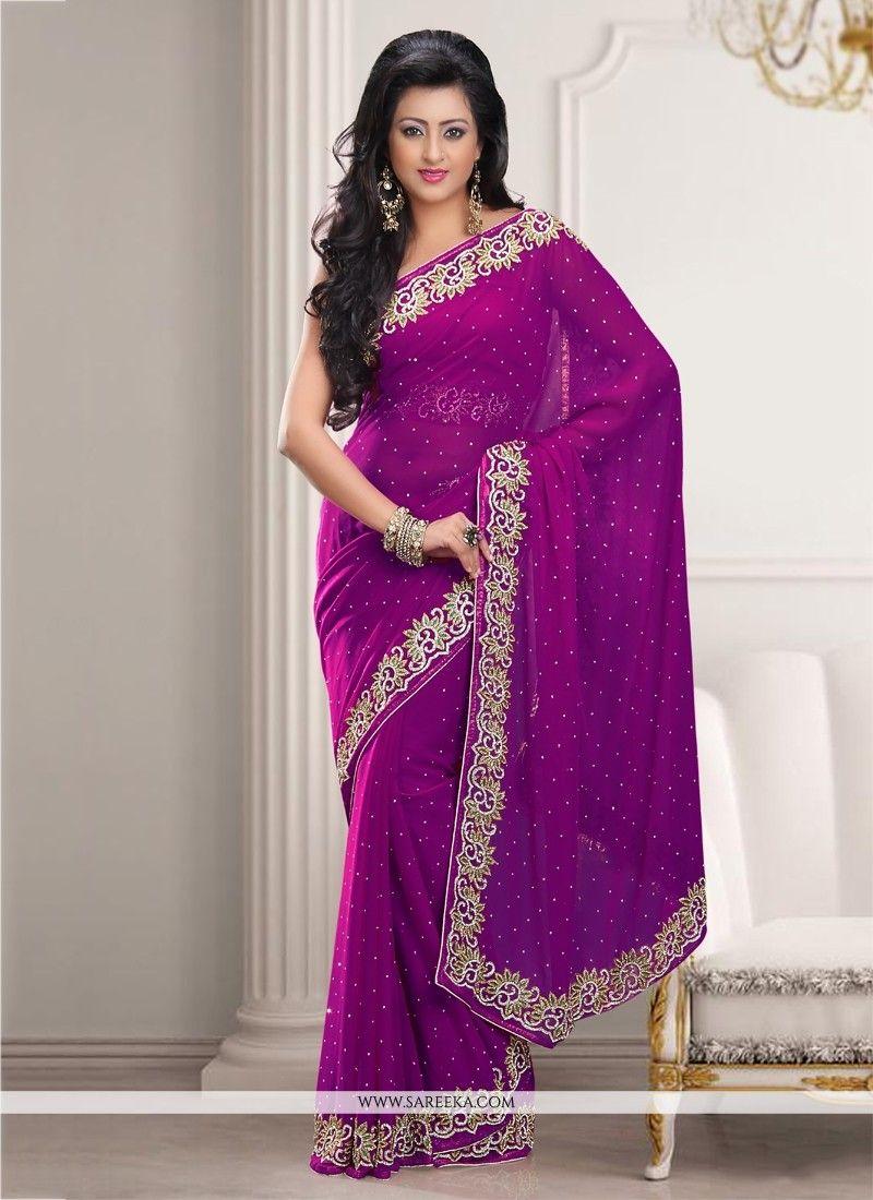 Purple Chiffon Designer Saree