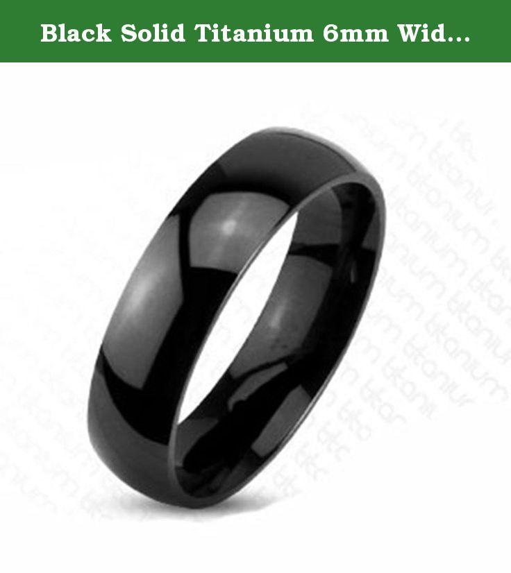 Black Solid Titanium 6mm Wide Polish Traditional Wedding Band Ring R208 Size 5 - 13. Black Solid Titanium 6mm Wide Polish Traditional Wedding Band Ring R208 Size 5 - 13.