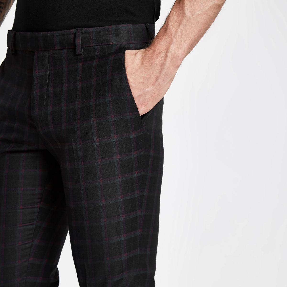 43a30b0129c3 Black and burgundy check skinny suit pants - Suit Pants - Suits - men
