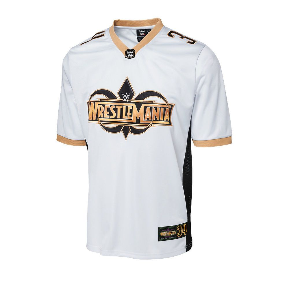 Official WWE Authentic WrestleMania 34 White Football Jersey