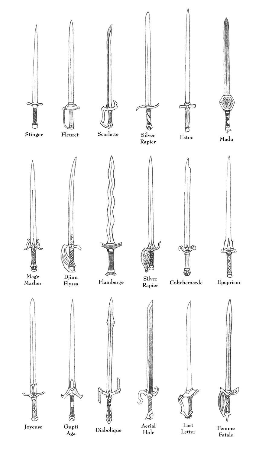 Weapons of ffta rapiers by bladedog armures sword drawings drawing swords art