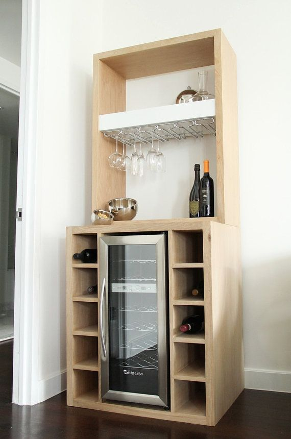 White Oak Bar With Built In Wine Cooler And Glass Rack Etsy Wine Bar Cabinet Built In Wine Cooler Small Bars For Home