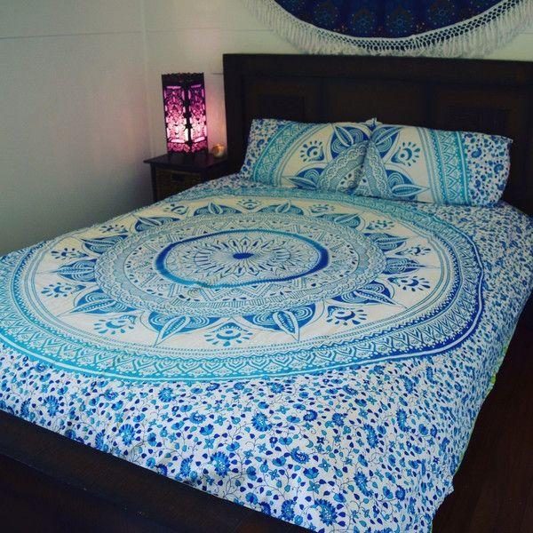 Teppiche - Blaue Tapisserie Mandala Boho böhmischer Bedspread - ein Designerstück von LindasJewelryStuff bei DaWanda