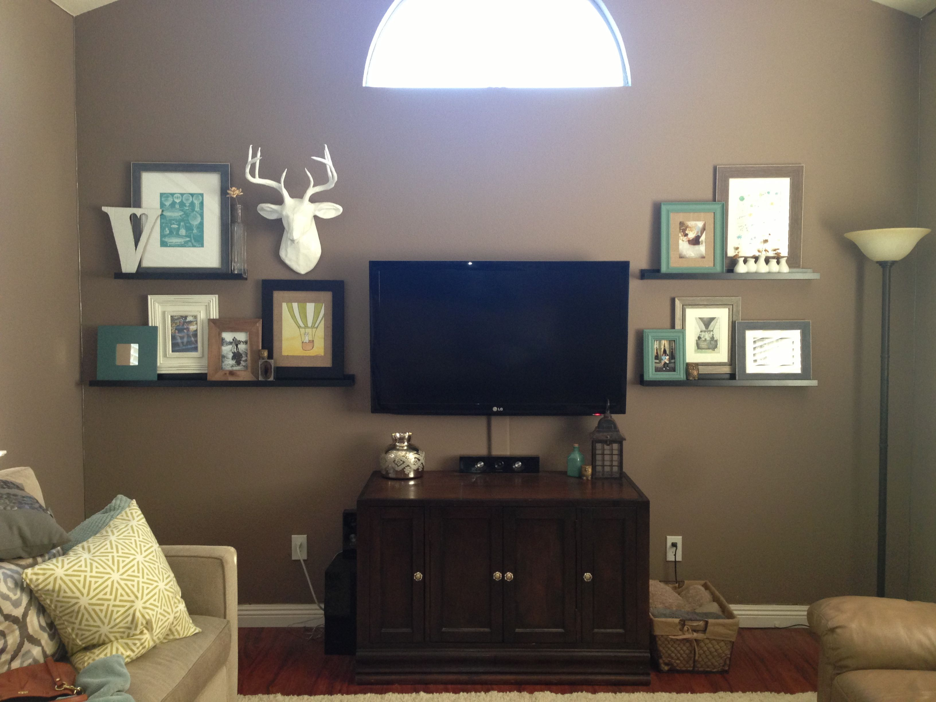 Deer head, picture ledge, mixed frame TV wall | For the Home | Pinterest