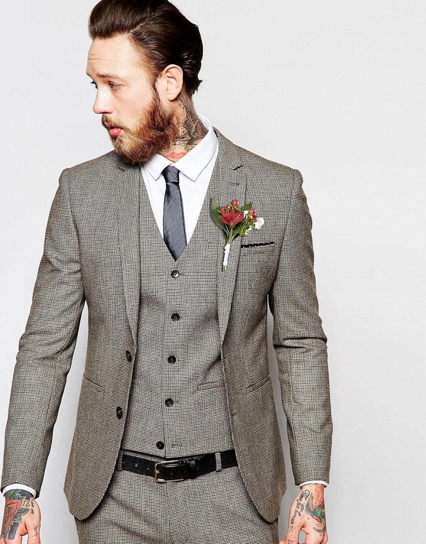 Asos wedding super skinny suit jacket in brown dogstooth brown