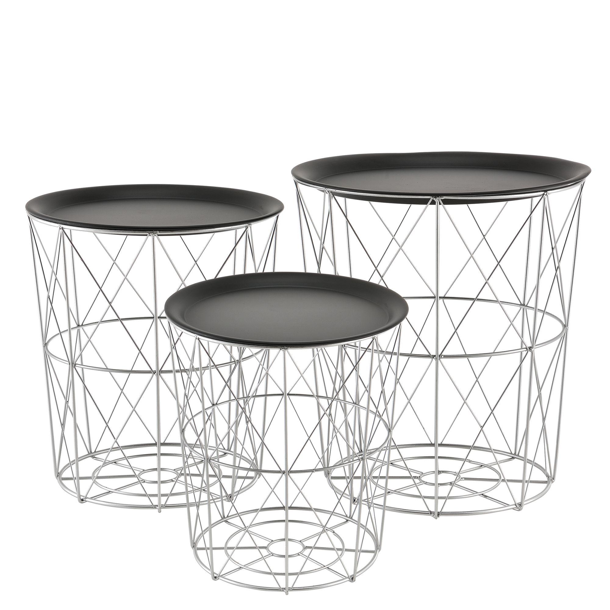 En Casa Panier Métallique Table D Appoint Basse Lot De 3 Décoration