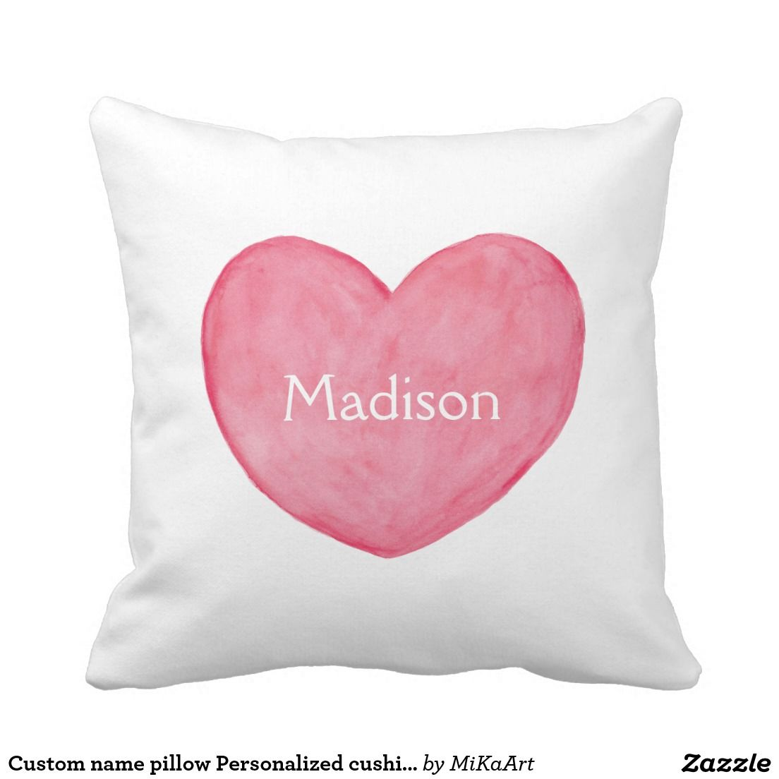Custom name pillow Personalized cushion Heart Art   Personalised ...