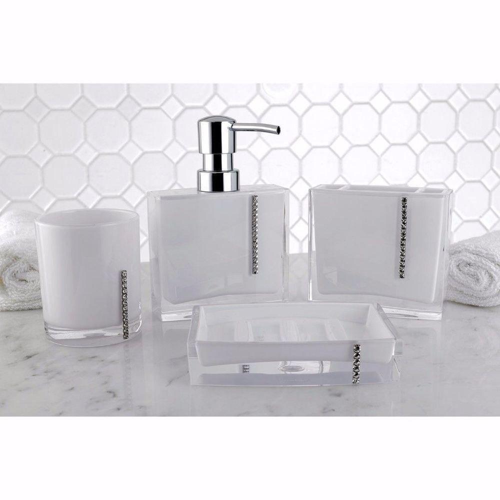 Crystal White Four Piece Bath Accessory Set High Quality Home
