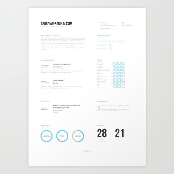 Resume Template Free AI by Georgian-Sorin Maxim, via Behance