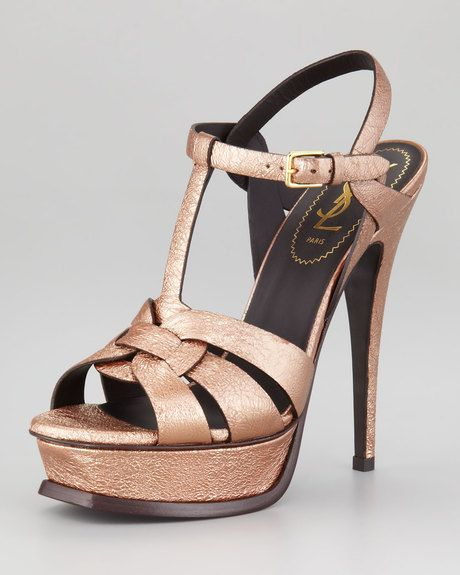 e4cf74b42375 Saint Laurent - Tribute Metallic Leather Sandal