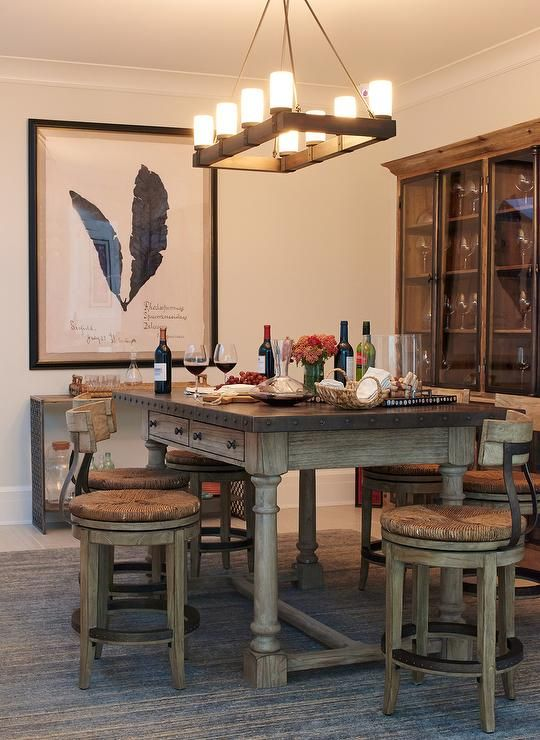 Delightful Wood And Zinc Dining Table With Swivel Barstools And Rush Seats.... Rustic