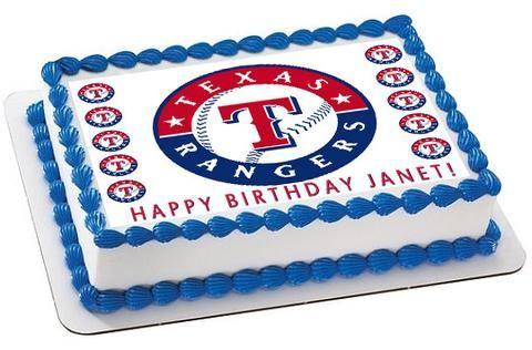 Texas Rangers Edible Birthday Cake Topper OR Cupcake Topper, Decor