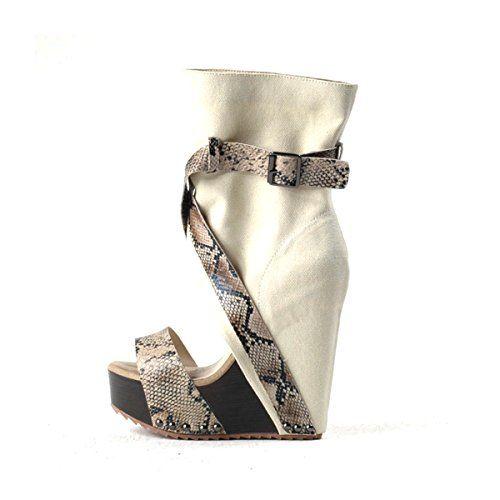 Onlymaker Damen High heels Sandalen mit Keilabsatz Peep Toe Riemchen Criss Cross Boots - http://on-line-kaufen.de/onlymaker/onlymaker-damen-high-heels-sandalen-mit-peep-toe