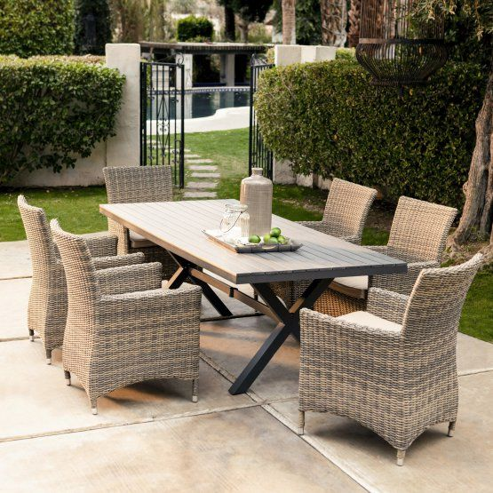 Belham Living Bella All Weather Wicker 7 Piece Patio Dining Set Seats 6 Patio Dining Set Patio Set Wicker Dining Set