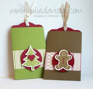 """Gift Card Holders from the Two Tags big shot die and a sleeve for the tag to slide in. The sleeve is 6-1/8"""" x 4-1/4"""", scored at 1-5/8"""" and 4-1/2""""."""
