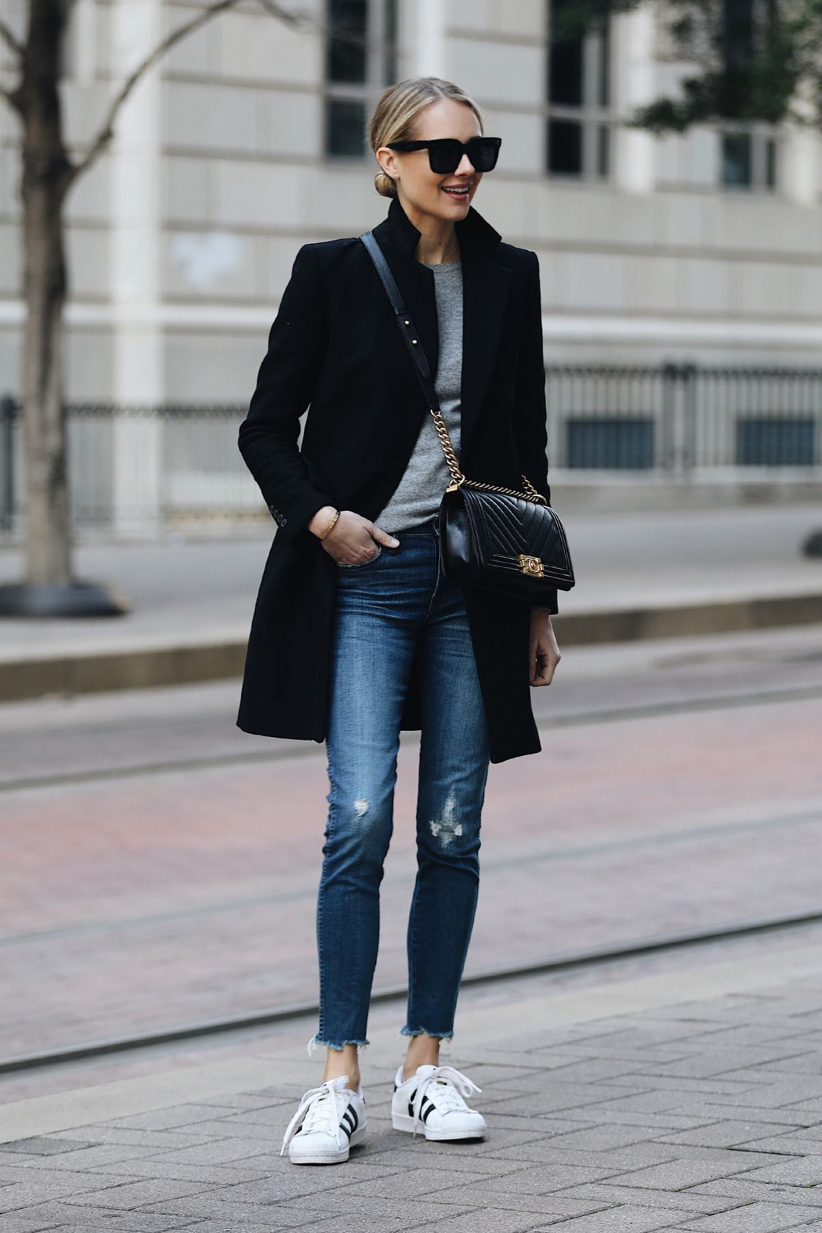 e01ca603e1c9 Blonde Woman Wearing Zara Black Wool Coat Grey Sweater Madewell Denim Jeans adidas  superstar sneakers Chanel Black Boy Bag Fashion Jackson Dallas Blogger ...
