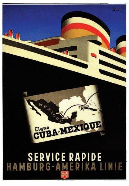 Hamburg - Amerika Linie - ANTON Ligne Cuba - Mexique. Kunst im Druck München