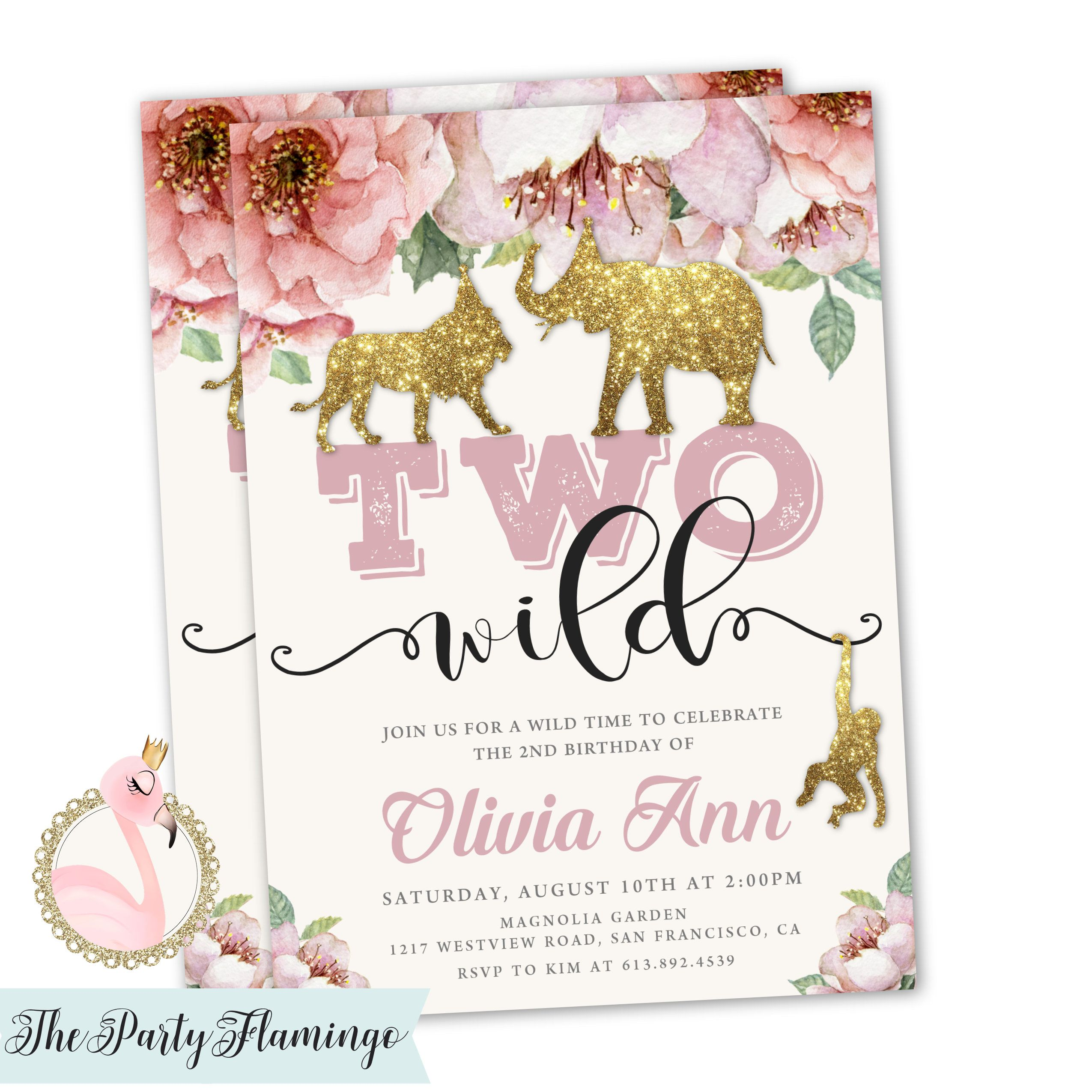 Two Wild Birthday Invitations For A Girl Features Pretty Florals And Gold Glitter Safari Animals Great Themed Parties