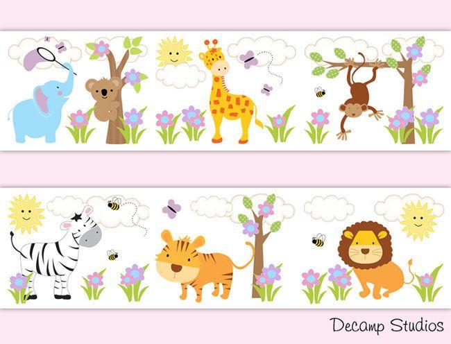 Safari Animals Nursery Decals Decor Baby Girl Wallpaper Border Wall Art Stickers Roo Bordado Ponto Cruz Infantil Fraldas Decoradas Artesanato Simples Com Papel