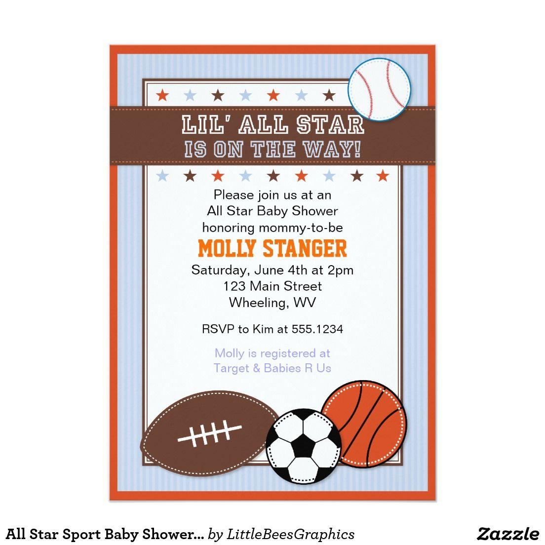 All Star Sport Baby Shower Invitation   Baby Shower Ideas ...