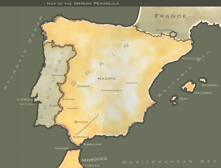 Map Of Spain Portugal%0A Countries on the Iberian Peninsula include Portugal  Spain  Andorra  little  bitty circle between Spain and France   and a portion of France