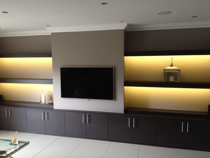Great Media Wall With Floating Shelves