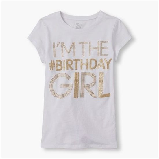 The Childrens Place Saved This PinPin241s Short Sleeve Im Birthday Girl Glitter Graphic Tee