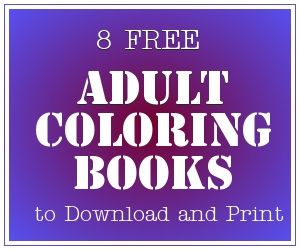8 FREE Adult Coloring Books available for download on Amazon.com.  Coloring is a great way to relieve stress and relax!