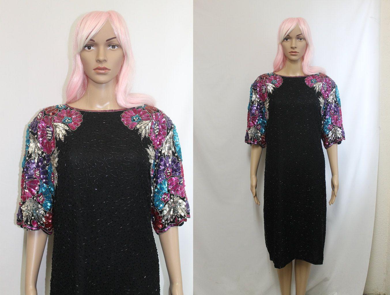 80s Plus Size Dress 2X / Beaded Dress / Silk Dress / India Bead ...