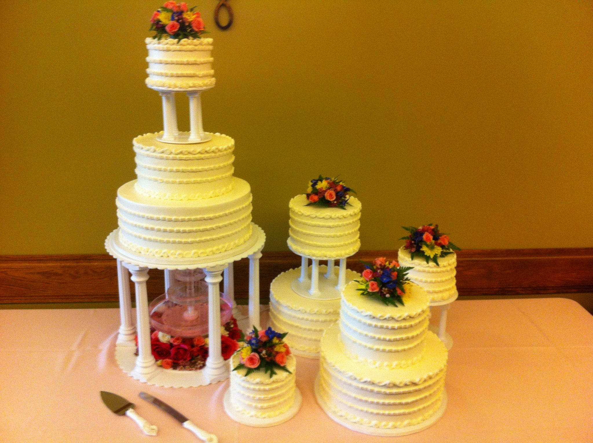 Retro Tiered with Fountain Wedding Cake :) https://www.facebook.com ...