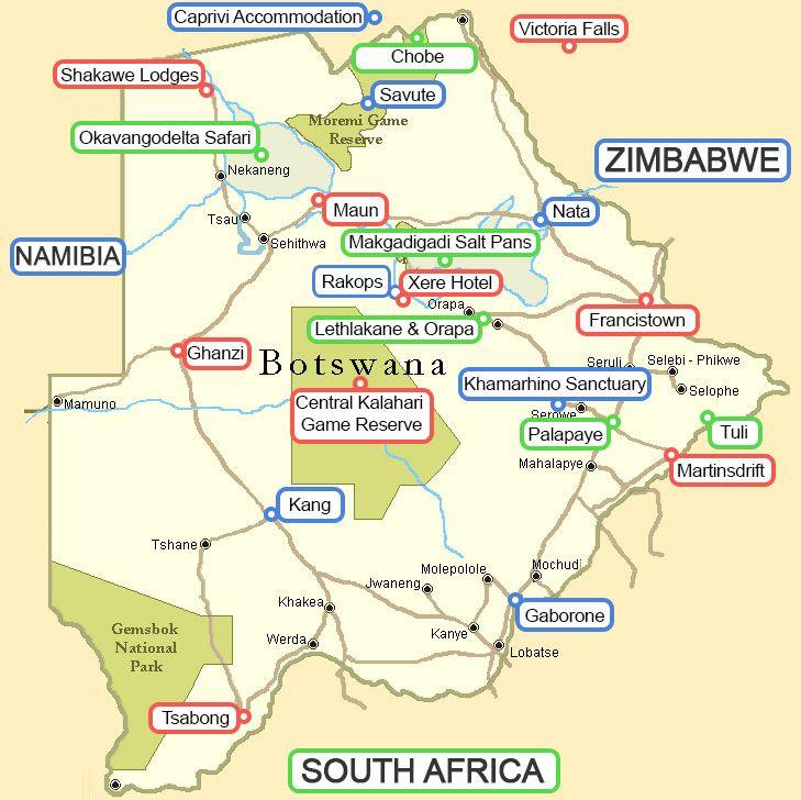 Botswana image map BOTSWANA TOURISM Pinterest Tourism