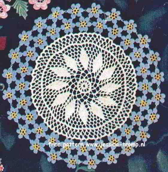 Forget me not doily free vintage crochet doilies patterns   Vintage ...