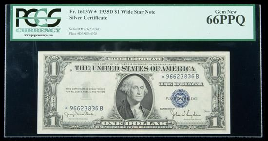 1935-D, $1 Silver Certificate. Wide Star Note. PCGS Gem New 66PPQ A ...