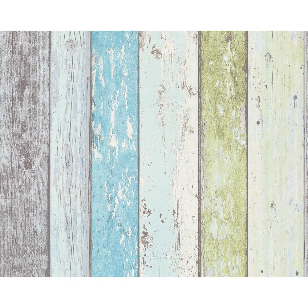 Sea Hut Wood Effect Wallpaper