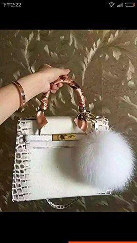 ad033e76ffcf Amazon.com  HEARTFEEL Real Fox Fur Pom Pom Ball Keyring   Bag Purse Charm  Gold Ring Key Chain for Car Key Ring or Bags Fluffy Balls (Pink)  Sports    ...