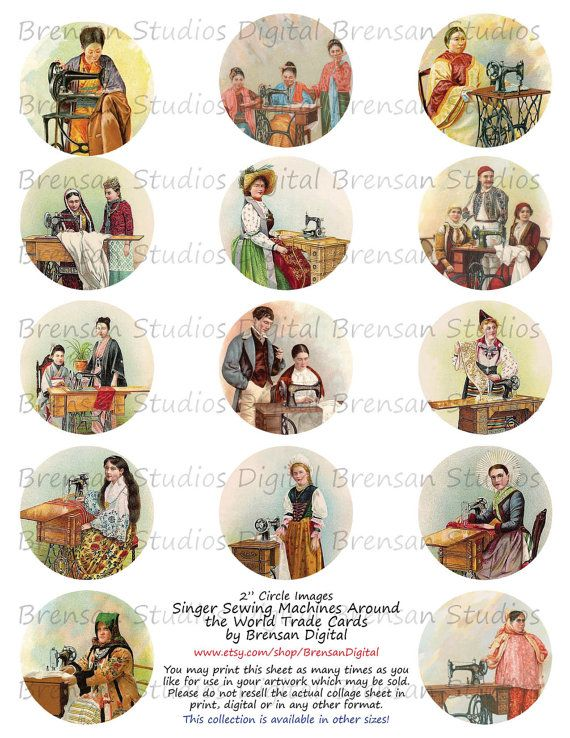 Vintage Singer Sewing Machines Around the World Collage Sheet,  2inch Circles, 14 images, Instant Download Digital Collage Sheet