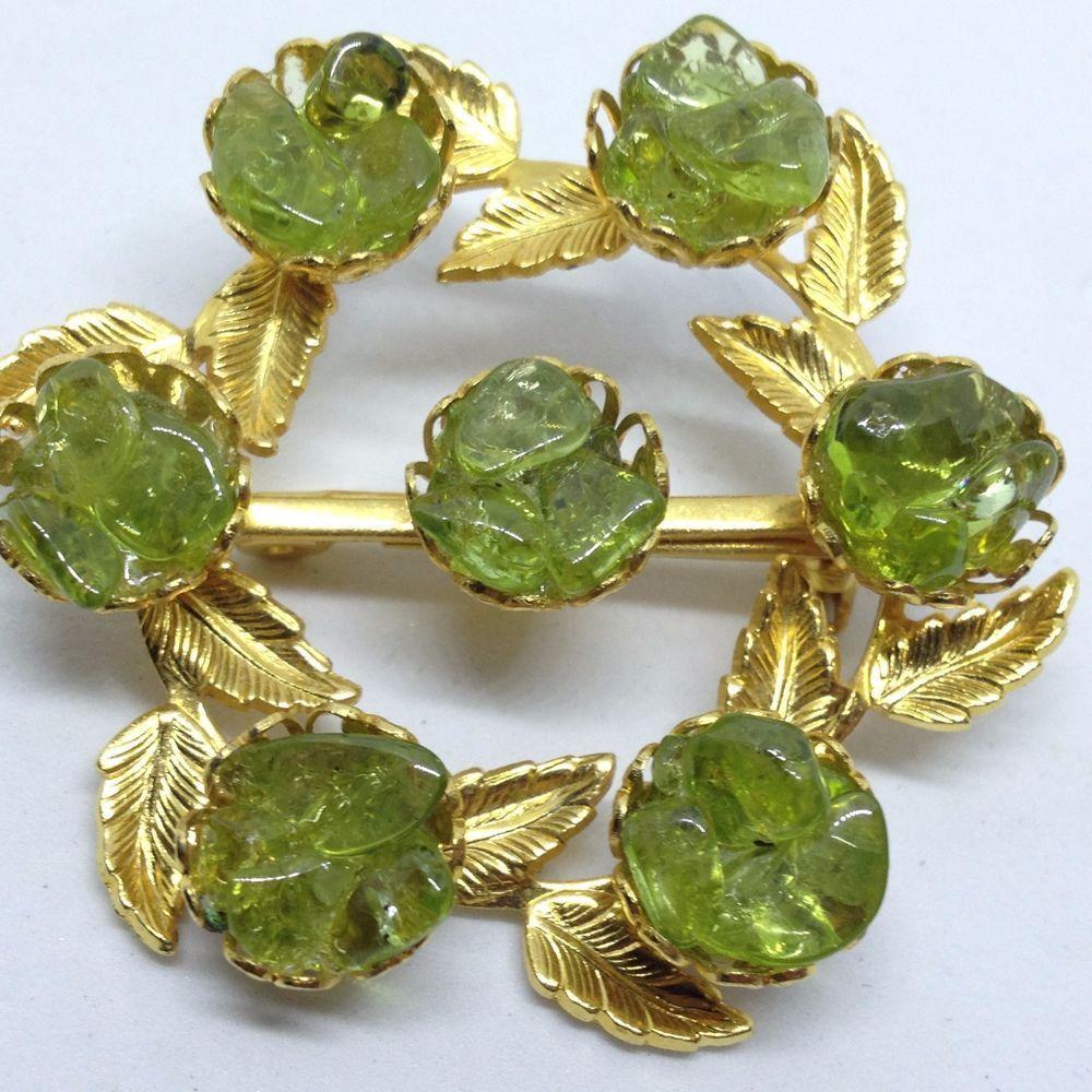 Vintage FLOWER WREATH BROOCH PIN Lime Green Peridot Gold Tone