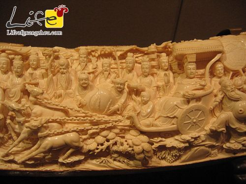 Life of Guangzhou - Mammoth Tusk Sculpture Exhibition. Awesome detail sculpted on an elephant tusk!