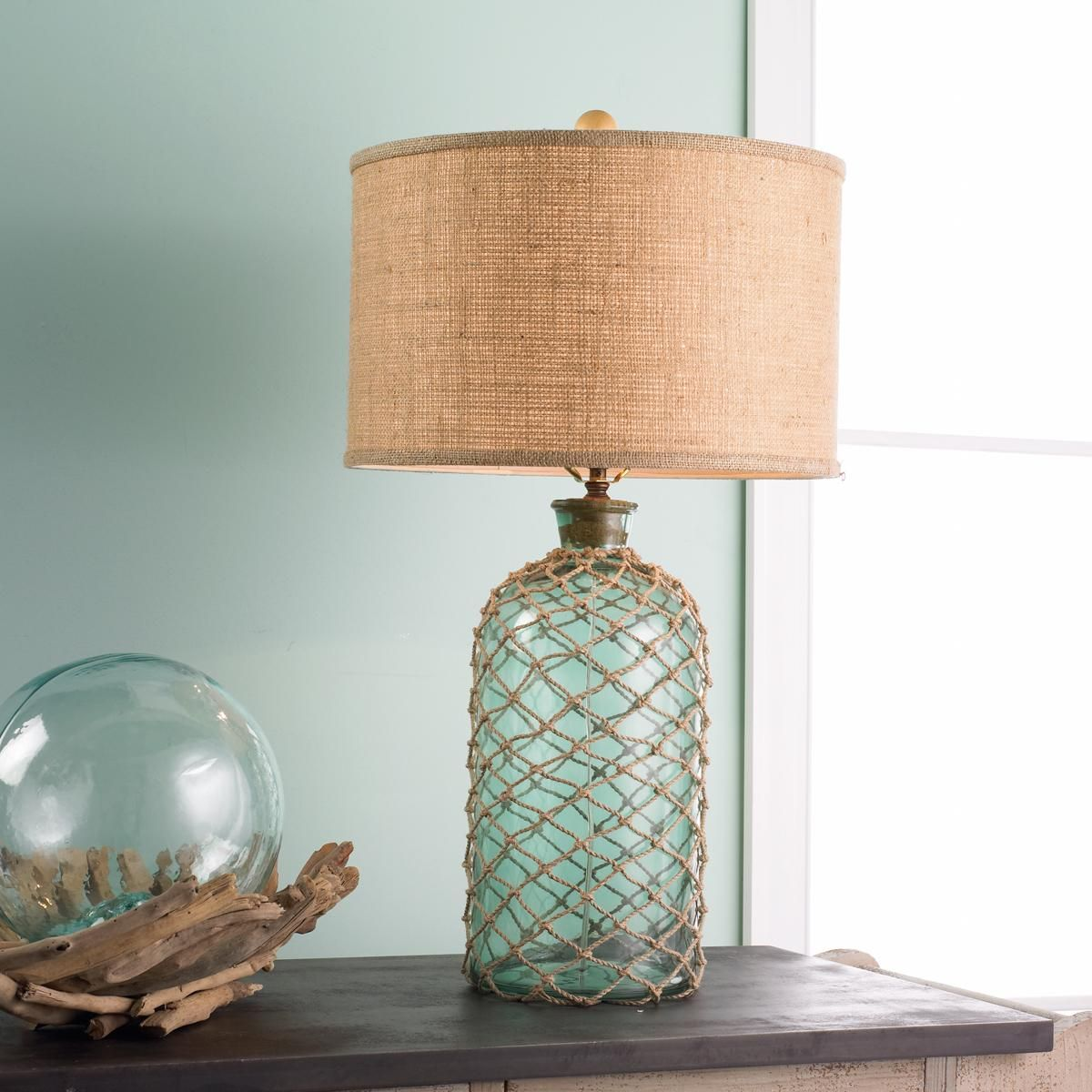 Green Glass Jug With Rope Netting Table Lampbeach Lovers And Fishing Friends Will Enjoy The Nautical Nod Fro Nautical Lamps Rustic Table Lamps Green Glass Jugs
