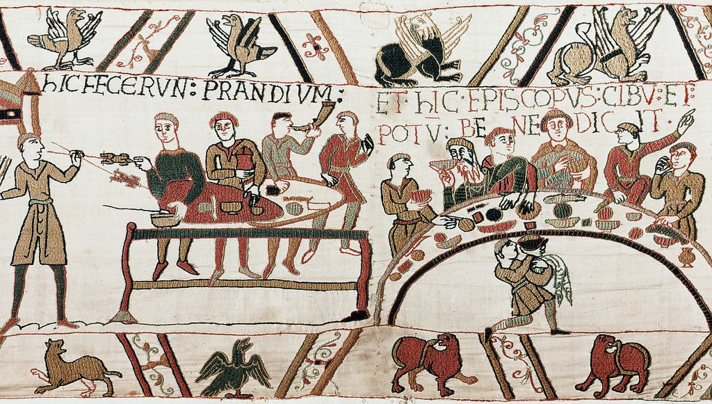 Bayeux tapestry first meal norman tapestries and embroidery - Point p bayeux ...