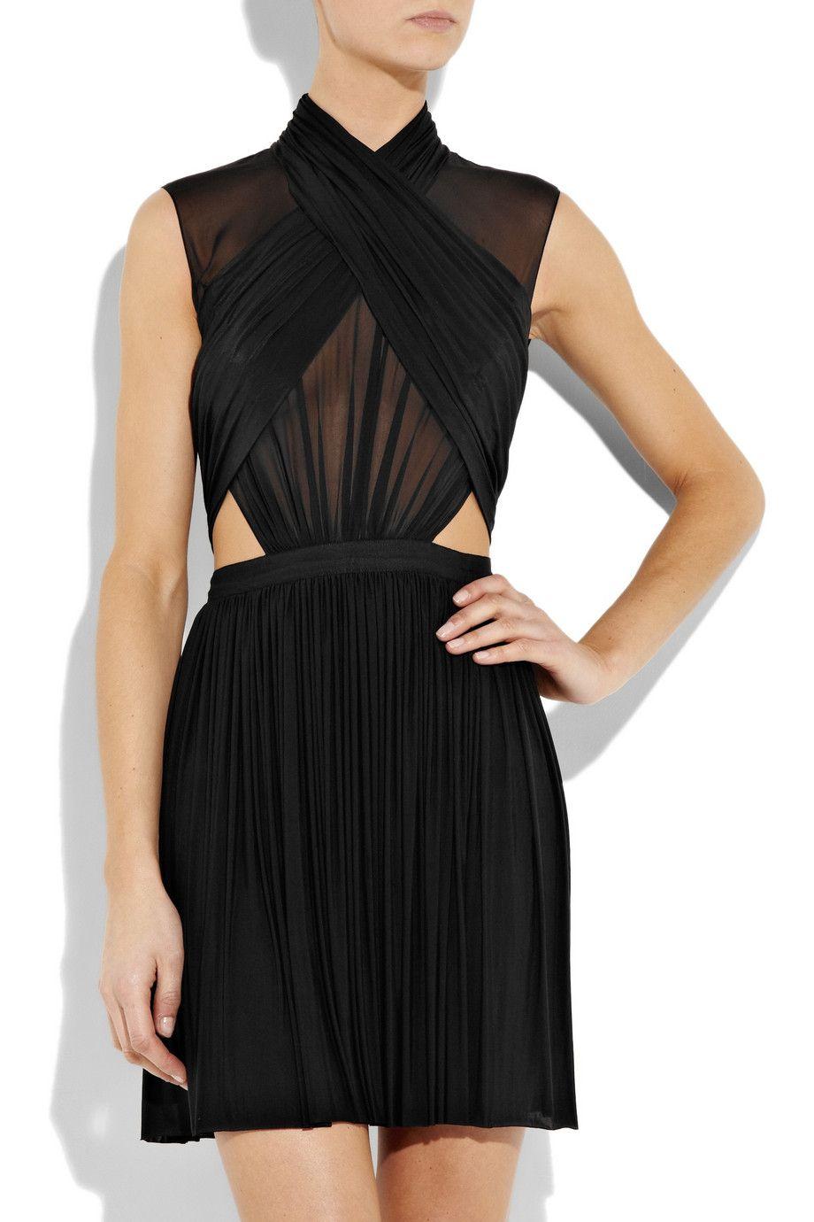 Black Stretch Jersey And Silk Chiffon Dress Alexander Wang Fashion Little Black Dress Alexander Wang Dress