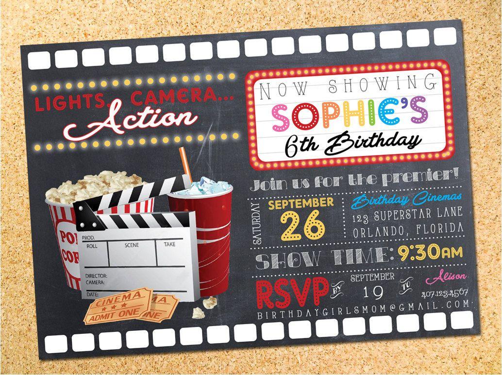 Movie Night Birthday Party Invitation - Customizable - Printable ...