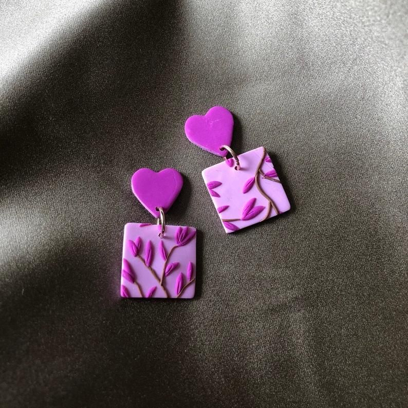 Photo of SAKURA  – Polymer Clay Earring – Floral Sweetheart Heart – A…