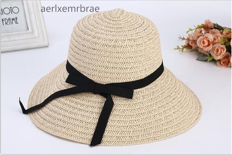 2c2bd5f76 2017 New Fashion Summer Hats for Women Flat Top Straw Boater Hats Ribbon Bow  Wide Brim Sun Hats for Men Ladies Beach Hats #HatsForWomenBoater # ...